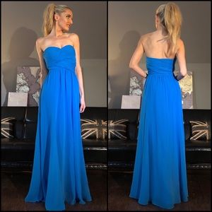 Ralph Lauren Strapless Blue Bridesmaid Prom Dress